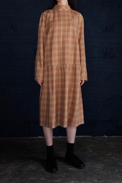 Early autumn check dress with corduroy trim