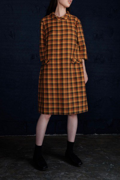 Gingham tweed full autumn dress