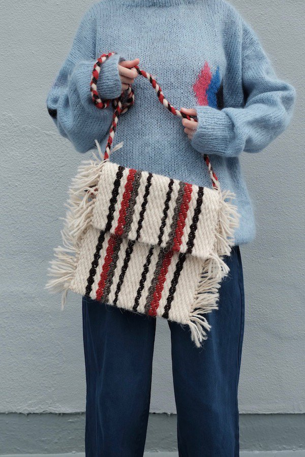 Stripy snowman shoulder bag from Maramureș County