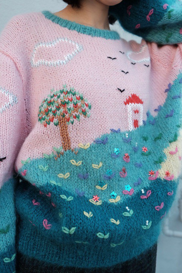 Pastel shade hill fluffy sweater