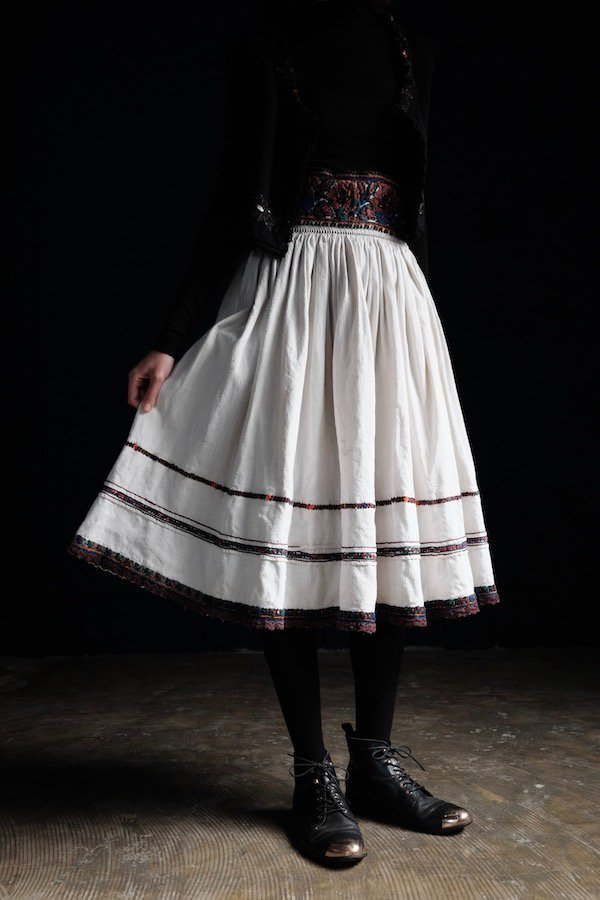 Antique embroidered midi skirt from Maramureș, Romania