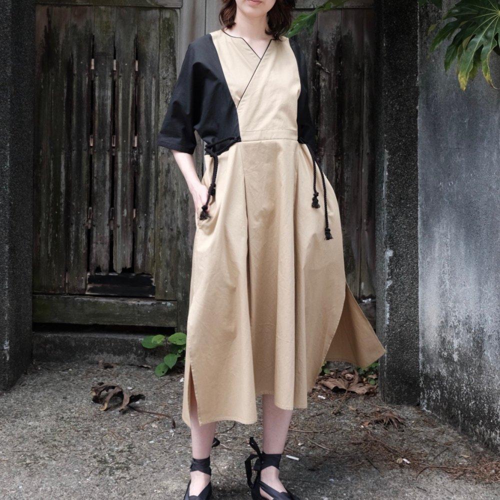 Tribal Dress Black × Beige by suie