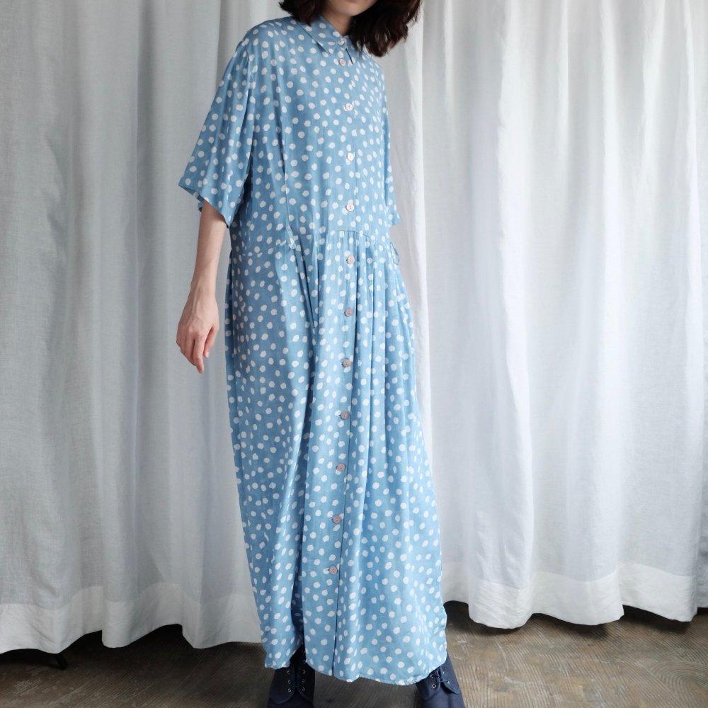 [VINTAGE] Sky Blue Dots Maxi Long dress