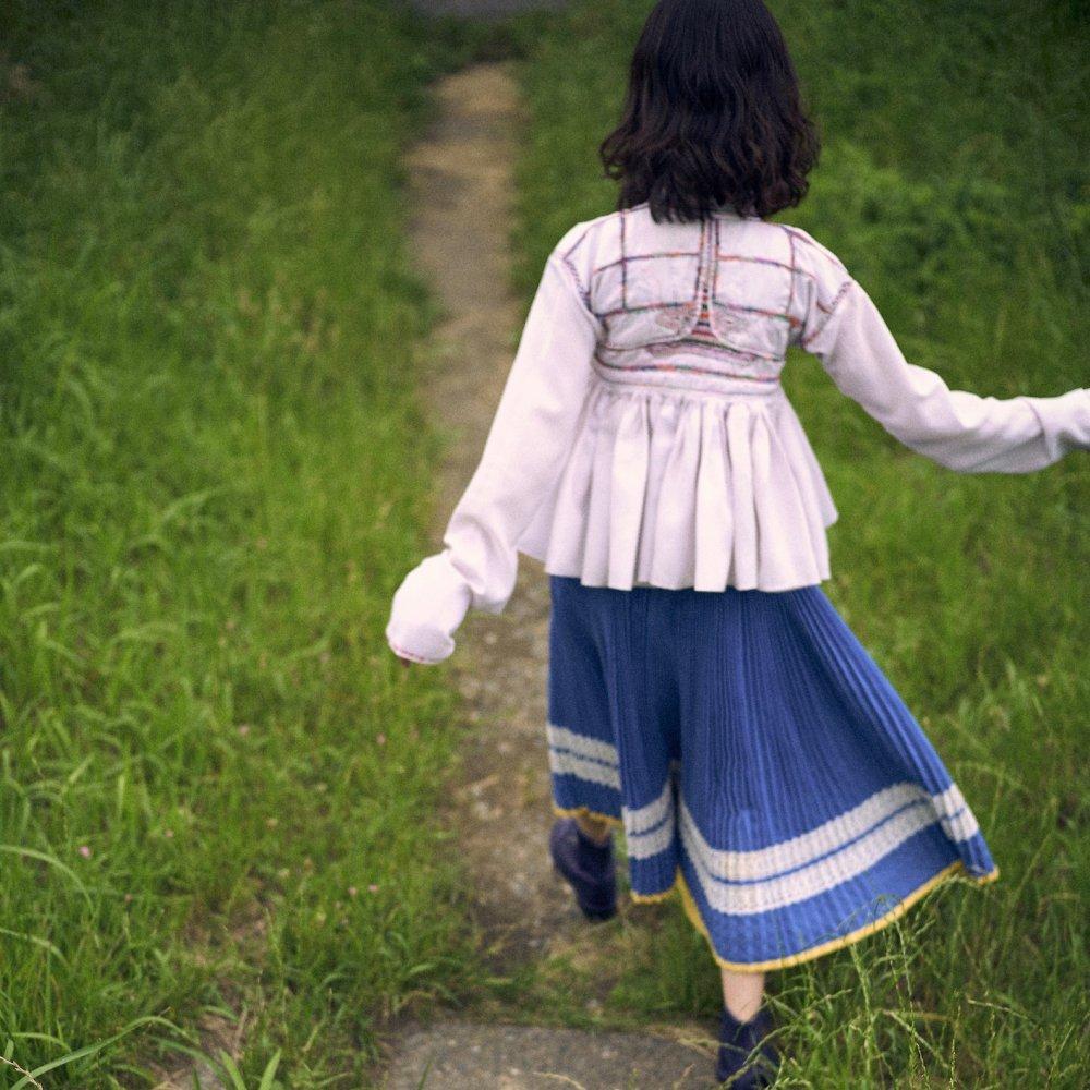 [VINTAGE] Cyan Blue Accordion Pleated Skirt