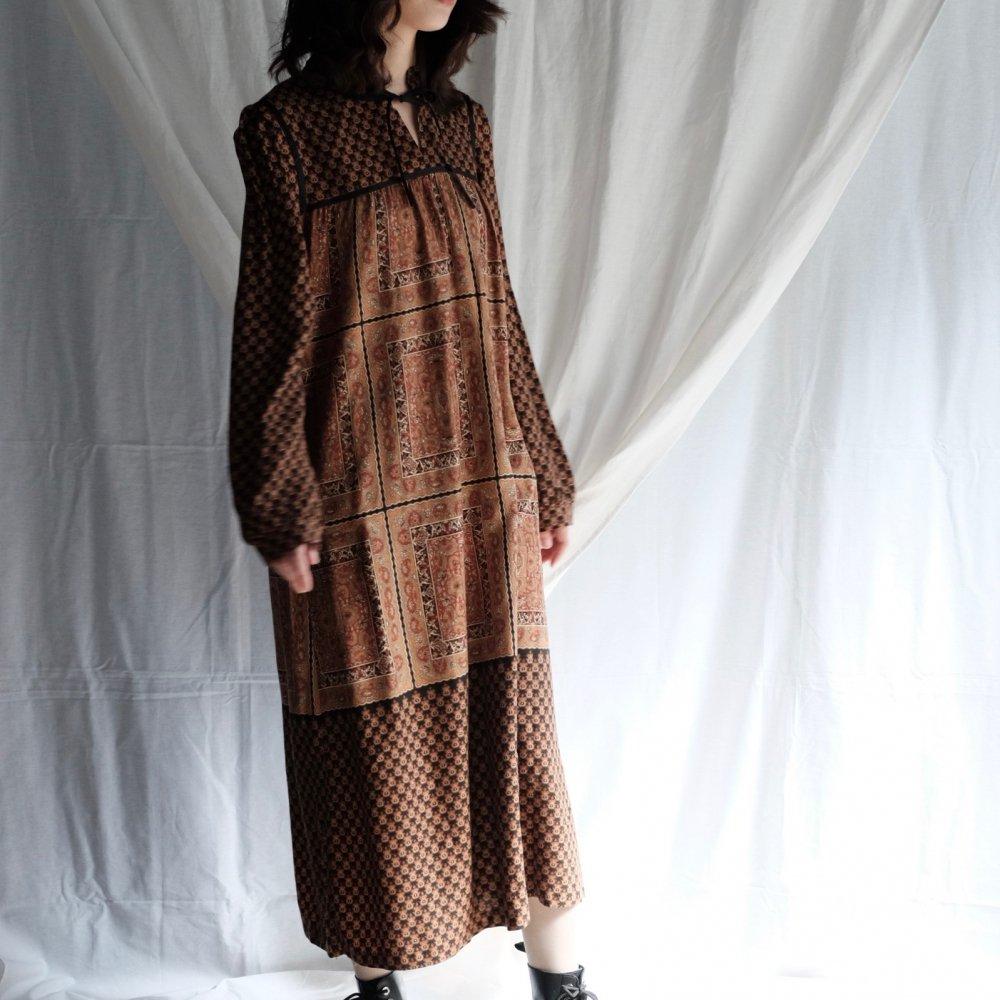 [VINTAGE] Damask Bi-pattern Boho Dress