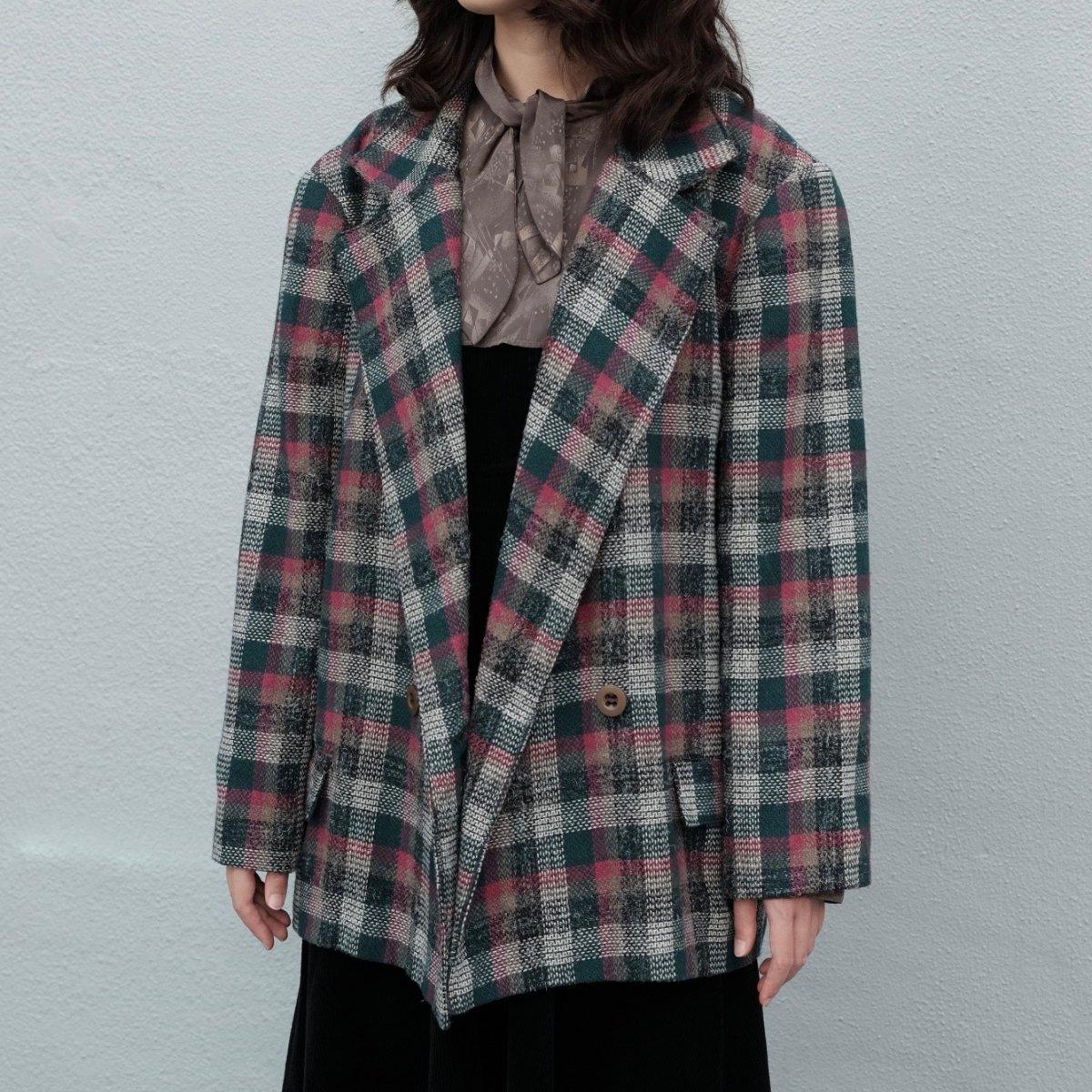 [VINTAGE] Pink & Green Plaid Single Blazer