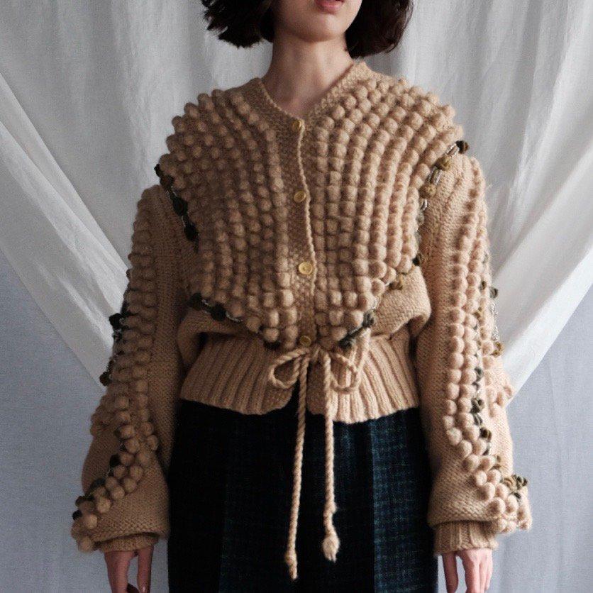 [VINTAGE] Milk Beige Hand-knitted Popcorn Cardigan