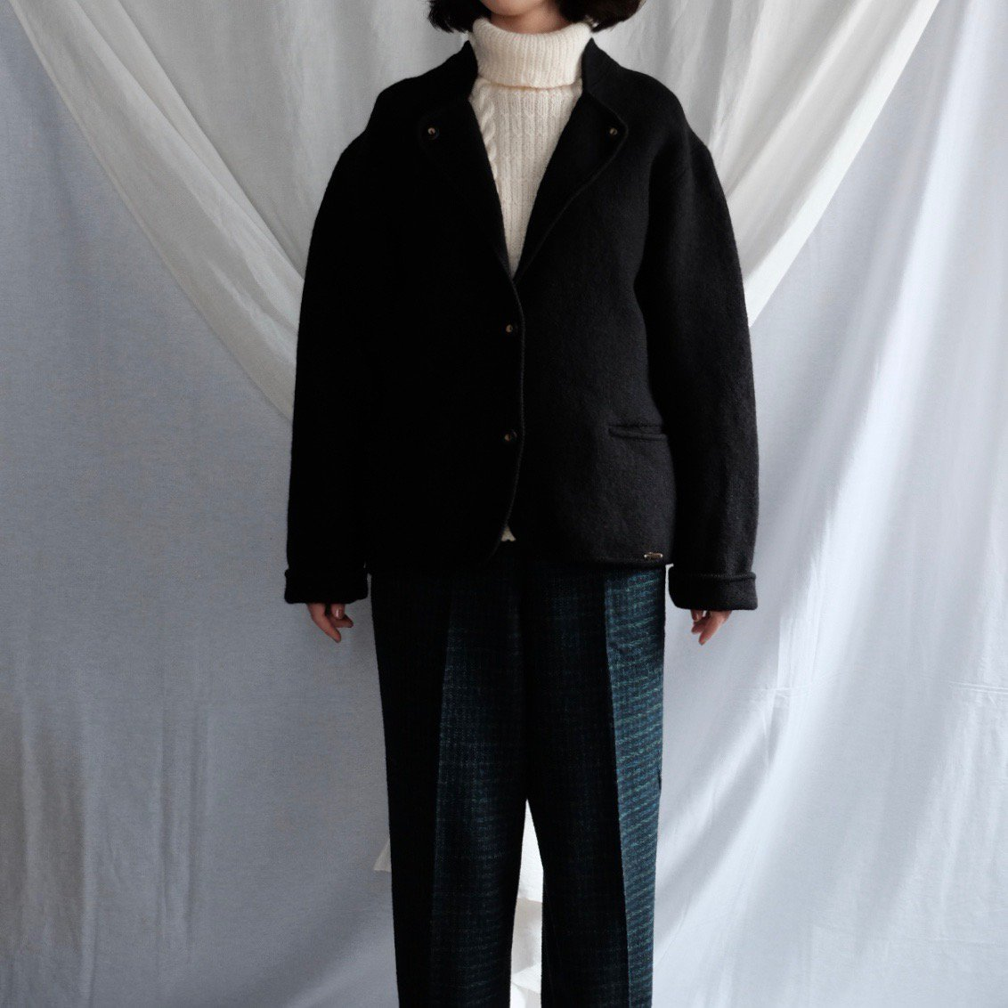 [VINTAGE] Boiled Wool Jacket with Deer Horn Buttons