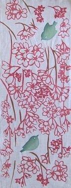 枝垂れ桜にメジロ