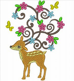Deer with flower(鹿)