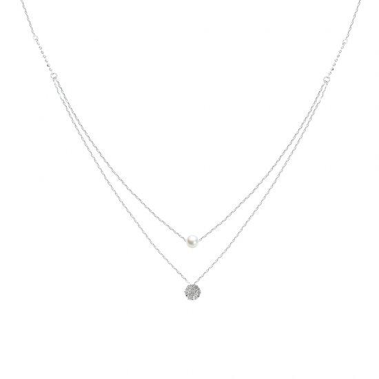 パール&ダイヤ2連ネックレス