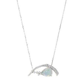 K18WG オパールダイヤモンドネックレス