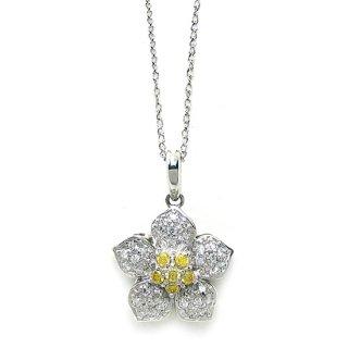 K18WG ファンシーカラーダイヤモンドネックレス