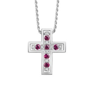 DAMIANI ベルエポック ダイヤモンドとルビーのネックレス XSサイズ