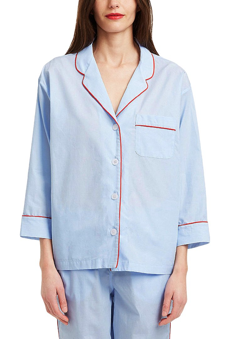 SLEEPY JONES WOMEN'S - MARINA PAJAMA SHIRT -END ON END BLUE