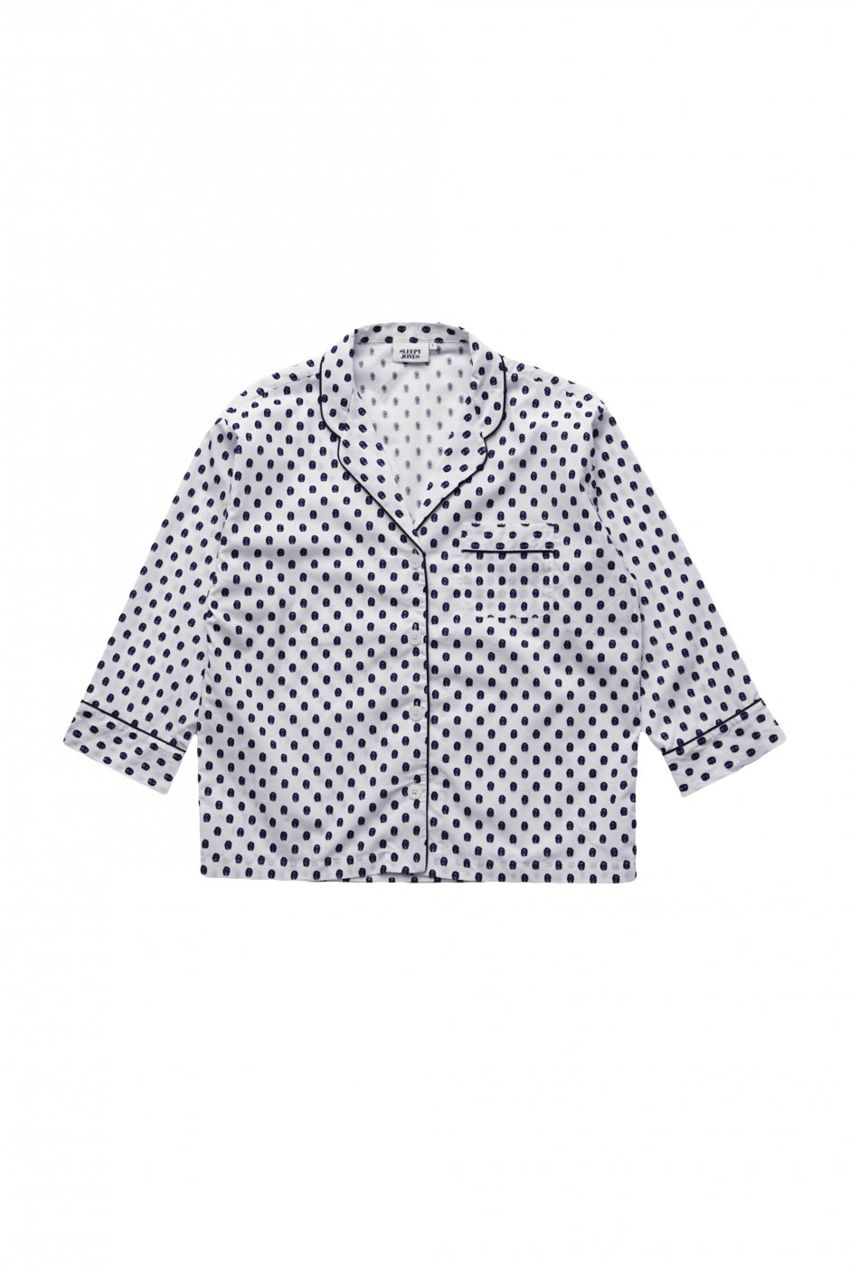 SLEEPY JONES WOMEN'S - MARINA PAJAMA SHIRT -LARGE SWISS DOT NAVY