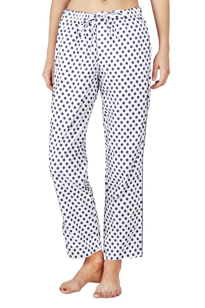 SLEEPY JONES WOMEN'S - MARINA PAJAMA PANT -LARGE SWISS DOT NAVY