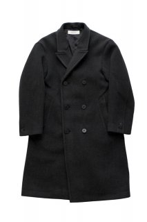 WRYHT - BEAVER CLOTH DOUBLE BREASTED COAT - GRAPHITE