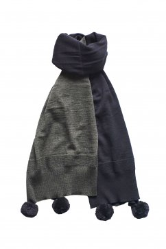 Nigel Cabourn woman - BIG STOLE - CHACOAL GRAY
