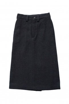 Nigel Cabourn woman - BASIC LONG SKIRT WASHABLE WOOL - DARK NAVY