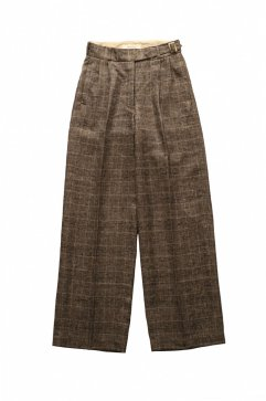 PANTS - WRYHT - ARTISAN SACK TROUSER - GLEN CHECK SIENNA  - Price  45,360 tax-in