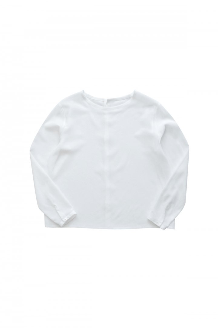 BLOUSE - humoresque - CREW NECK BLOUSE - WHITE SILK - PRICE 36,300 tax-in