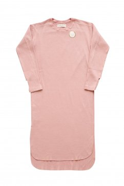 WRYHT- CREW-NECK RIBBED DRESS - CORAL