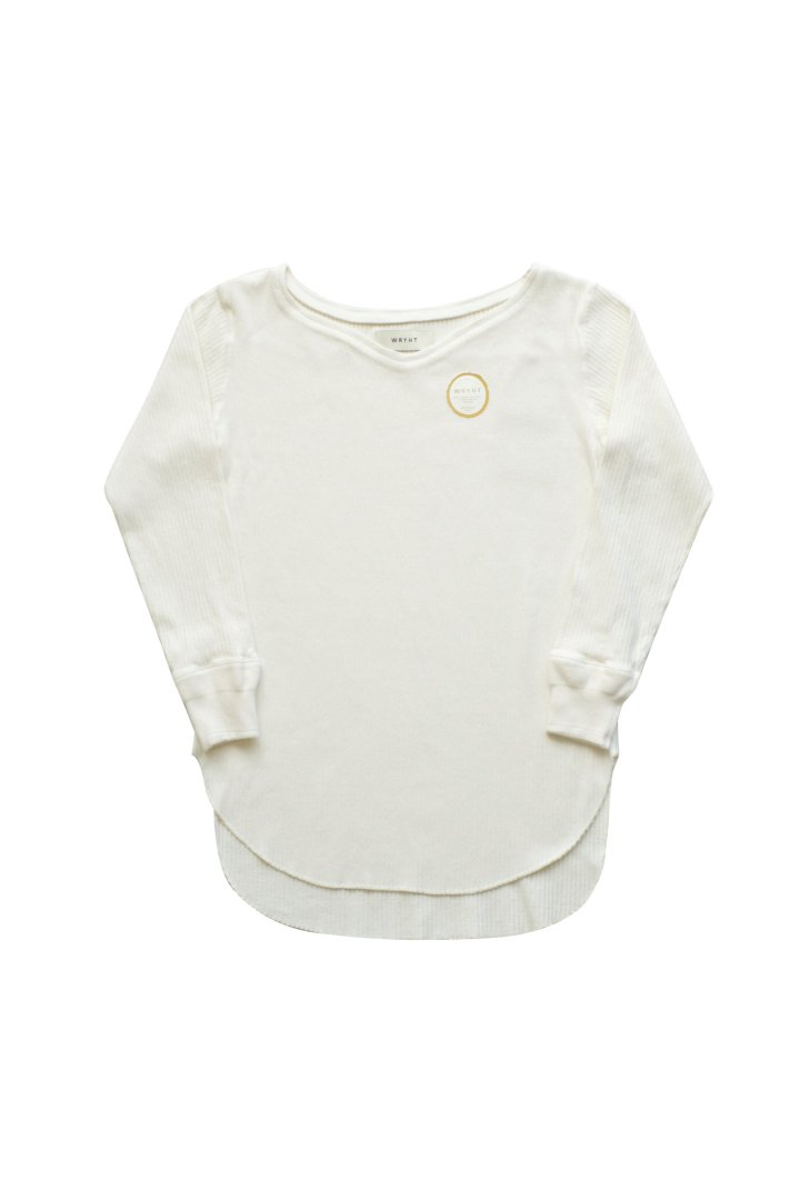 WRYHT- CURVED-NECK RIBBED TOP - NATURAL