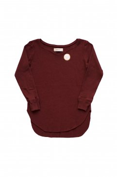 WRYHT- CURVED-NECK RIBBED TOP - PORT