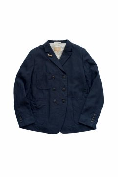 Nigel Cabourn woman - FRENCH WORK DB JACKET LINEN - HIGH DENSITY LINEN - NAVY