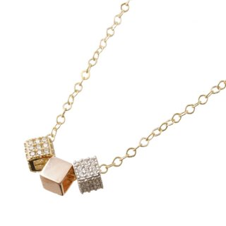14K ZIRCONIA CUBE PENDANT & NECKLACE
