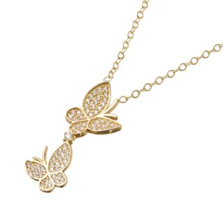 14K ZIRCONIA BUTTERFLY PENDANT & NECKLACE