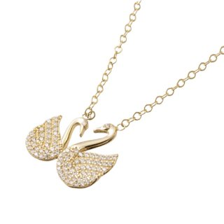 14K ZIRCONIA SWAN PENDANT & NECKLACE
