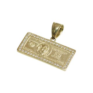 10K 100 DOLLAR BILL PENDANT TOP