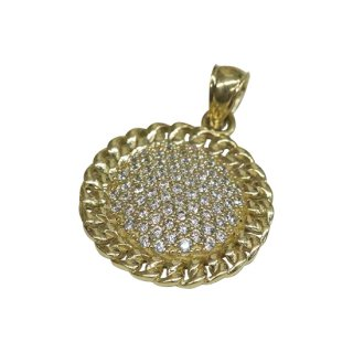 10K CHAIN CIRCLE PENDANT TOP
