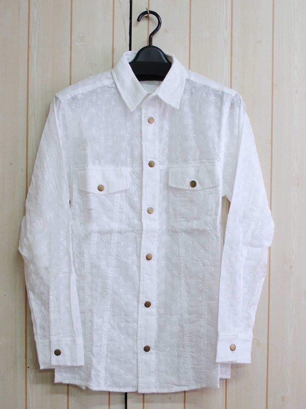 【99.9%OFF】@1円■コットン刺繍シャツ