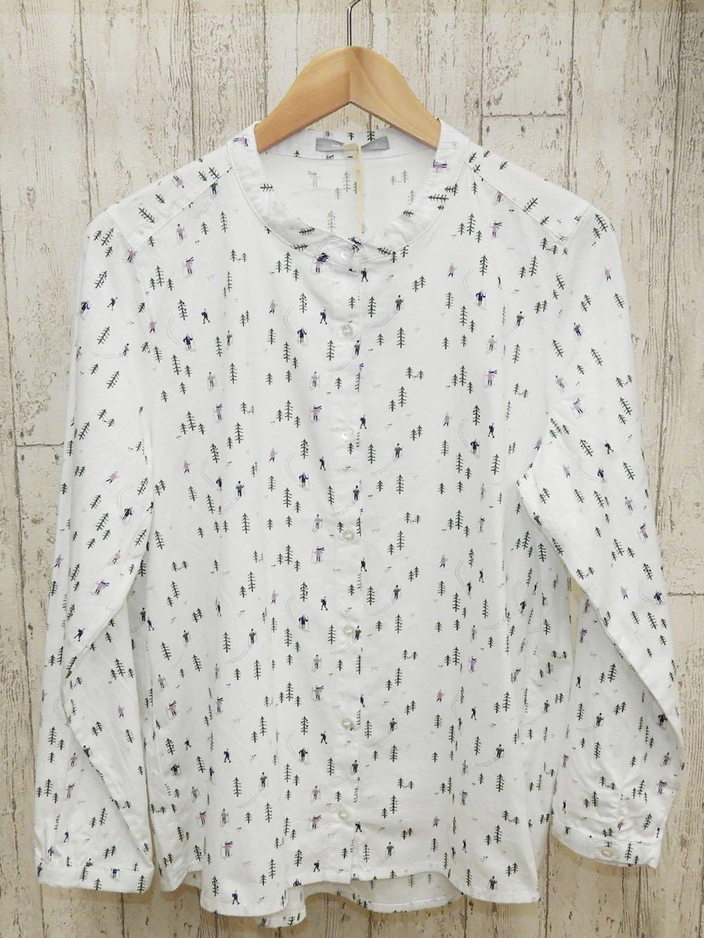 【90%OFF】@369円■5枚セット■スキーヤー総柄プリントスタンドカラーシャツ
