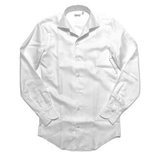 Finamore フィナモレ CAPRI ELBA カプリ エルバ 織柄ヘリンボーン ワンピースカラーシャツ ホワイト