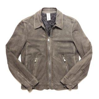 Delan デラン/ディラン ROCKY 中綿入り 襟付き シングルライダース レザーブルゾン スウェード グレー