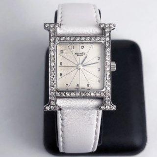 【即納】エルメス Hウォッチ アフターダイヤ 0.64ct ホワイト 鑑別書 箱有り中古 美品 天然ダイヤ VSクラス