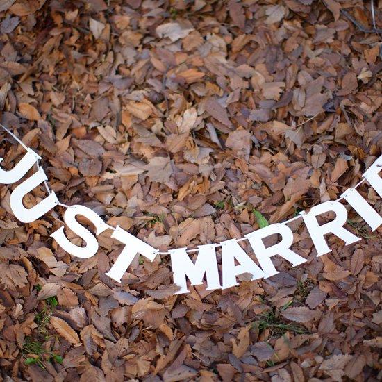 ミニペーパーガーランド ホワイト JUST MARRIED