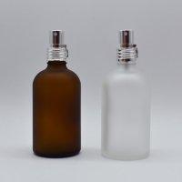 100ml 遮光瓶 アルミスプレー付 フロスト加工ガラスボトル (茶色)or(半透明)