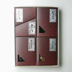 贈答用箱詰合せ (松茸昆布、山のふき、お茶漬の友、さんしょうの実、あかね昆布)