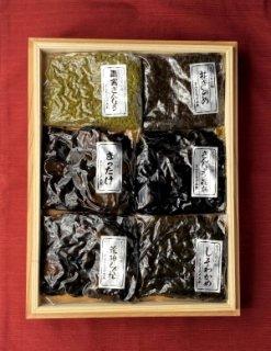 木箱詰合せ (松茸佃煮、花きのめ、さんしょう昆布、しそわかめ、青実さんしょう、荒神しぐれ)