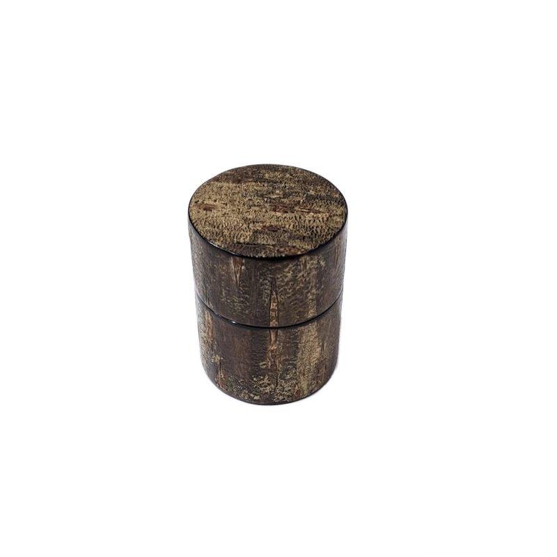 携帯茶筒 霜降皮 桐箱入(荒川慶太郎 作)