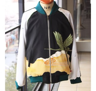 ビンテージJジャンー金糸で縁取った緑の鶴