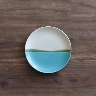 青い海6寸皿