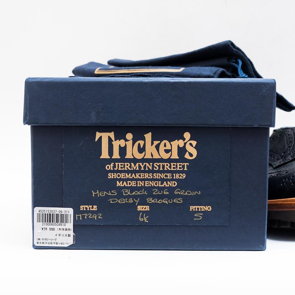 トリッカーズ バートン m7292 ブラック グレインレザー ダービー サイズ6.5Fitting5