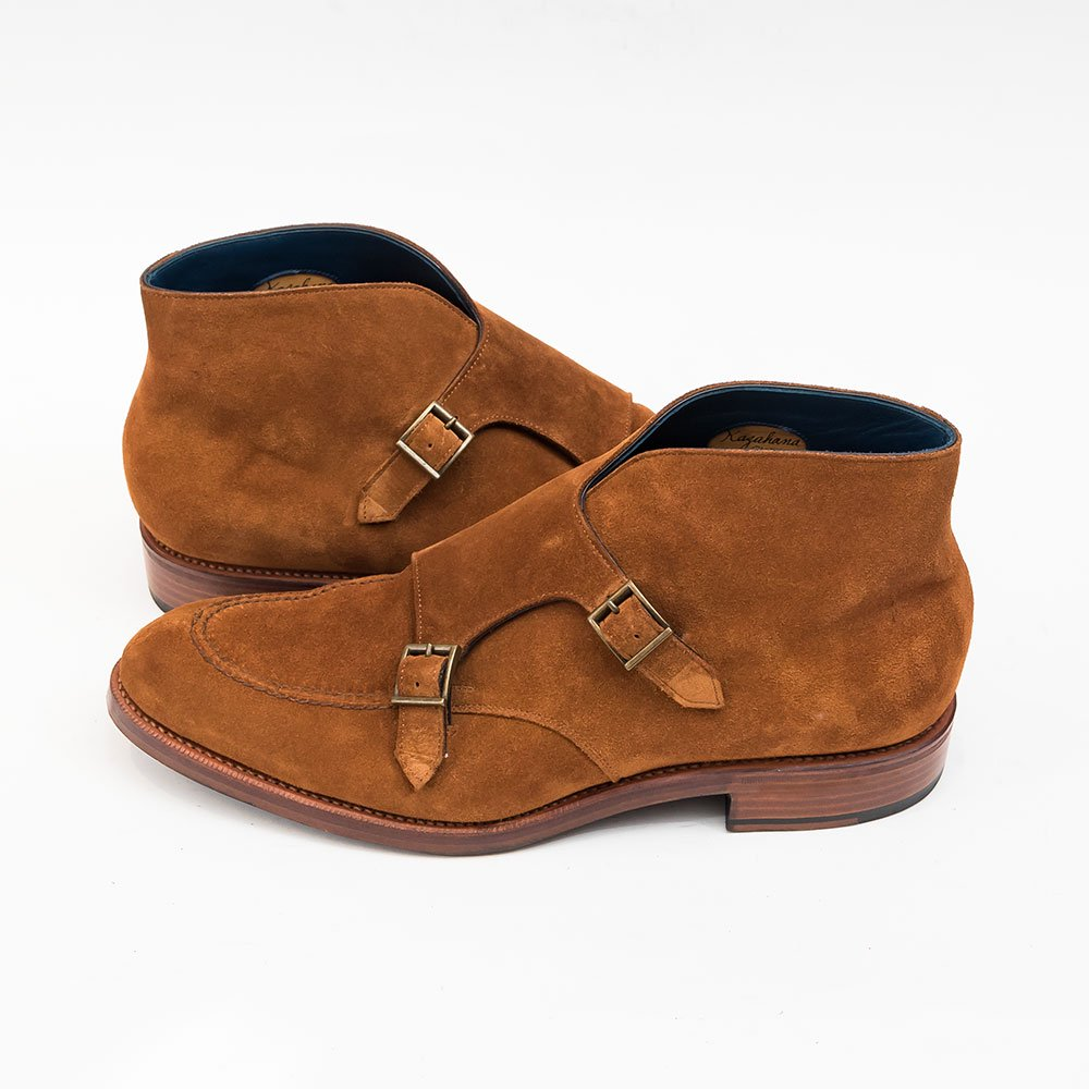 セントラル靴 KAZAHANA 【風花】ダブルモンク ブーツ スキンステッチ サイズ9.5E