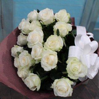 <要予約>白バラの花束20本